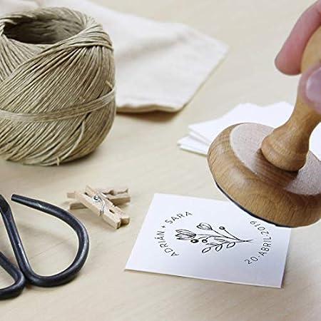 Tampon Mariage, Tampon personnalisé de mariage, 12 motifs exclusifs au choix, tampons en bois pour mariage avec encre