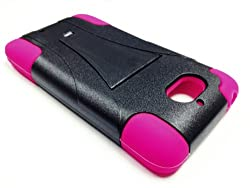 small Motorola Droid Mini XT1030 Hybrid Phone Case with Stand – Pink / Black + Happy Face…