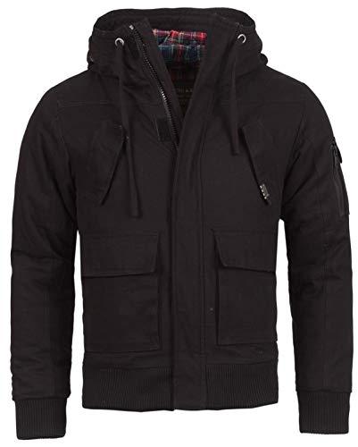 Young & Rich Herren Winter Jacke mit Kapuze slimfit gefüttert 812-4003, Grösse:M;Farbe:Schwarz