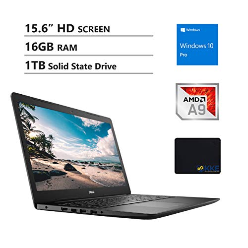 "Dell Inspiron 15.6"" HD Business Laptop, AMD A9-9425, 16GB RAM, 1TB Solid State Drive, Wireless AC, Bluetooth, Webcam, MaxxAudio, HDMI, Win10 Pro, KKE Mousepad, Black"