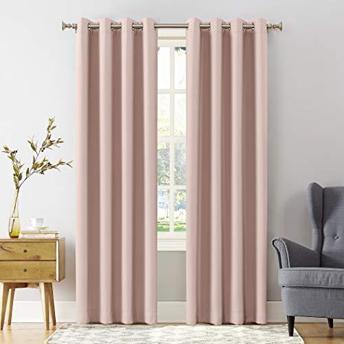 """Sun Zero Easton Blackout Energy Efficient Grommet Curtain Panel, 54"""" x 84"""", Blush Pink"""