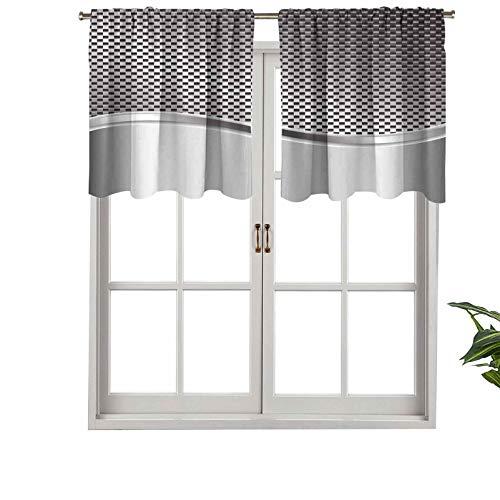 Hiiiman Cortinas para tratamiento de ventana con estructura con diseño de rayas onduladas a cuadros industriales, juego de 2, 42 x 24 pulgadas, paneles opacos decorativos para el hogar para cocina