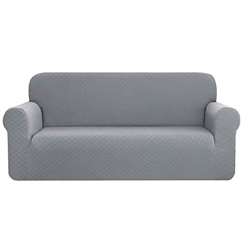 CHUN YI Rhombus Elastisch Sofaüberzug, Sofahusse, Sofabezug für Sofa, Sofaschutz (4-Sitzer, Hellgrau)