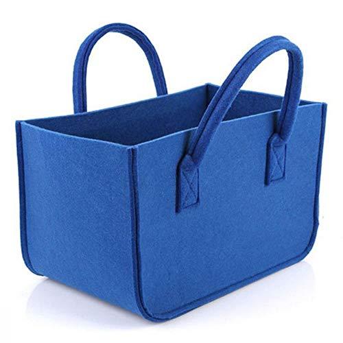 HEHELEBANG Cesta grande para leña de fieltro, cesta de la compra, cesta de ropa, cesta de lavandería con asa para transportar madera, color azul