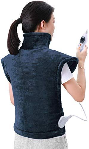 60 x 85 cm Heizkissen für Rücken Schulter Nacken Abschaltautomatik Wärmekissen und Schneller Heiztechnologie für Entlastung von Rücken und Schultern Heizdecke aus Angenehmem Dunkelblau