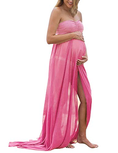 Coolmee Maternity Dress Off Shoulder Chiffon Maxi Photography Dress for Photo Shoot