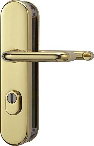 ABUS Tür-Schutzbeschlag KLZS714 MS messing mit Zylinderschutz & beidseitigem Drücker rund, 12247
