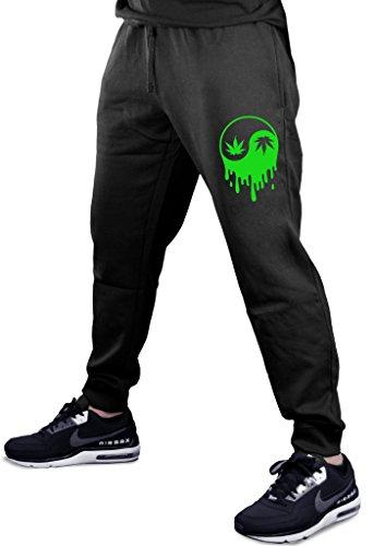 Dripping Weed Yin Yang V363 Men's Black Fleece Gym Jogger Sweatpants Large Black