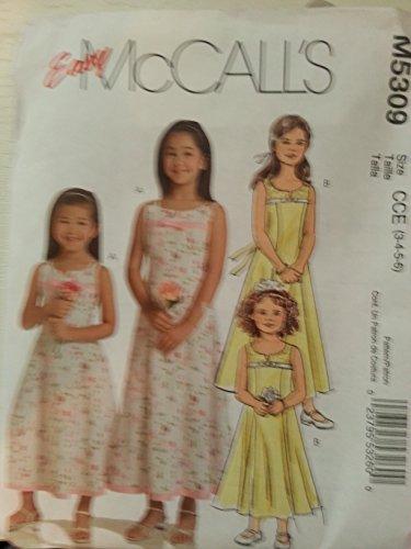 McCall 's patrón de costura 5309Formal vestido con forro para niña, flores niña, fiesta de boda talla 3,4,5,6