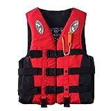 Tantrum Tow Ropes Fashion Adults Life Jacket Aid Vest, Life Jacket with Whistle for Men Women,Kayak Ski Buoyancy Fishing Boat Watersport Life Jacket (Red, XL)