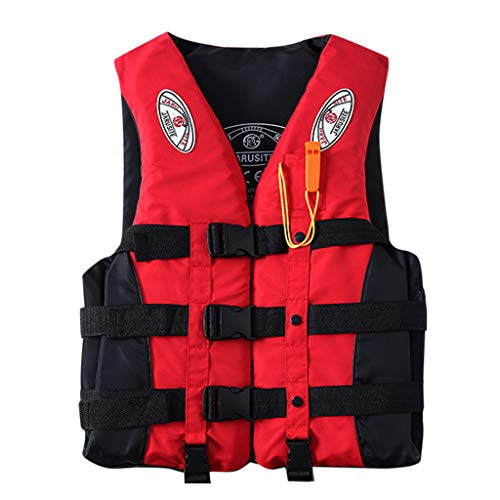 NoxwB Life Jacket Vest for Adults Kayak Ski Buoyancy Fishing Boat Water Sport Safety Equipment (Red, M)