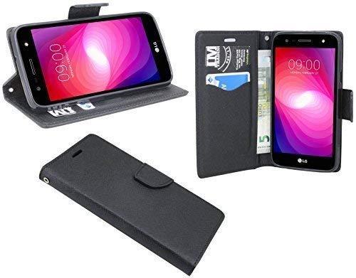cofi1453 Elegante Buch-Tasche Hülle kompatibel mit LG X Power 2 (M320N) in Schwarz Leder Optik Wallet Book-Style Cover Schale