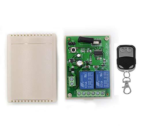 Receptor Universal 2 Canales Radio Receptor con Transmisor Autoaprendizaje 433 MHz para Puertas Persianas Luces 12V-24V 10A (incluido 1 mando a distancia)