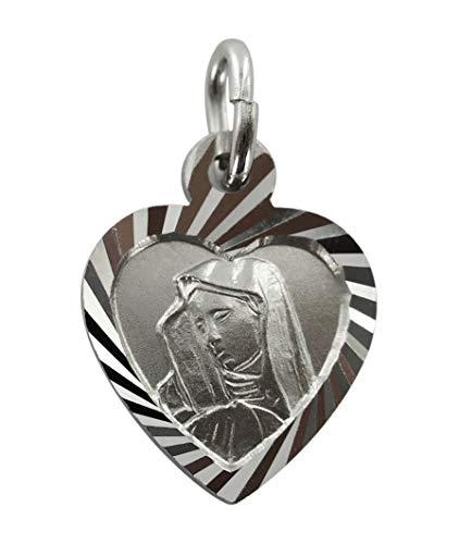 Medalla Virgen de los Dolores de plata 925 con forma de corazón - 1,4 cm