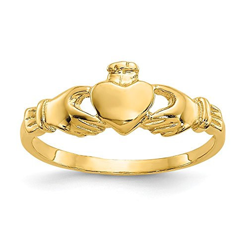 14k Yellow Gold Irish Claddagh Celtic Knot Baby Band Ring Size 3.00 Fine Jewelry For Women Gifts For Her