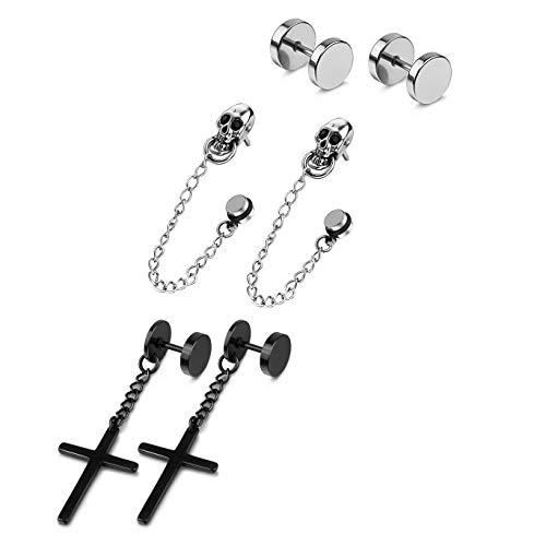 PLTGOOD 3 pares de pendientes de acero inoxidable exquisitos con bisagras para hombres y mujeres