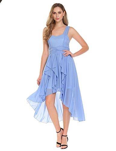 Meaneor Damen Chiffon Kleid Ärmelloses Asymmetrisches Cocktailkleid Partykleid mit Saum Wickelkleid...