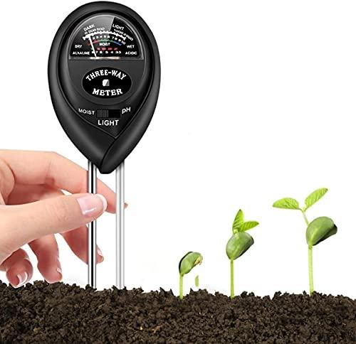 BIIBeSeamu Soil Moisture Meter, 3-in-1 Soil Tester with Moisture, Light and PH Soil Test Kit for Gardening, Farm, Lawn, Indoor & Outdoor, Soil pH Meter