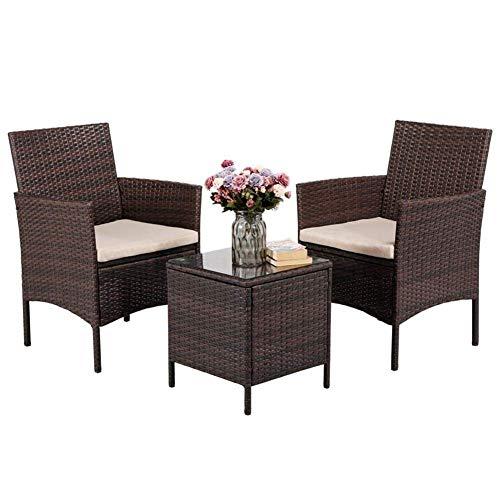 Rotin Meubles de jardin Set 3 PLACES chaise en rotin avec verre trempé Table basse amovible Coussins d'extérieur Meubles de jardin Ensemble avec cadre en acier durable imperméable PE Wicker (Brown) WK
