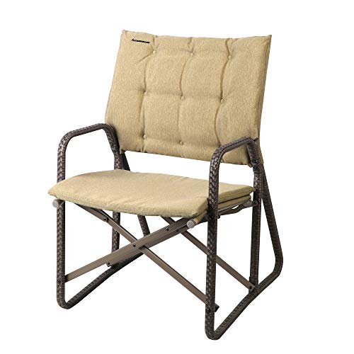 STRONGBACK Patio Chair Folding Lawn Lounge Chair Heavy Duty Outdoor Seat with Lumbar Support, Tan, One Size