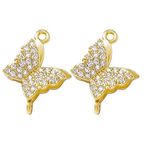 MILISTEN 2 Piezas Colgantes de Diamantes de Imitación de Mariposa Vintage para Hacer Joyas DIY Collar Pulsera Suministros de Oro