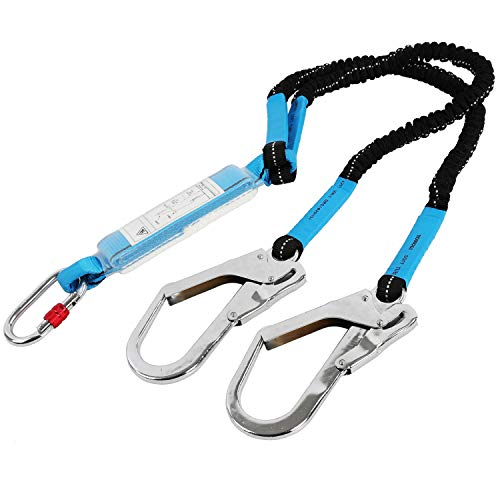 6ft Internal Shock Absorbing Safety Lanyard with Double Snap Hook Connectors, 11027 Fall Protection Equipment