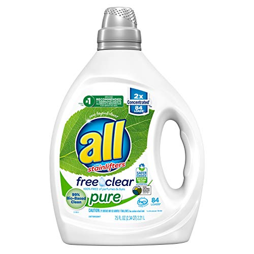all Liquid Laundry Detergent, Free Clear Pure, 99% Biobased, 2X Concentrated, 84 Loads, 75 Fl Oz