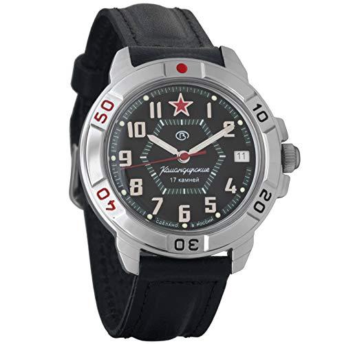 Vostok Komandirskie The Red Star of General - Reloj de Pulsera mecánico para Hombre, diseño Militar #431744 (Classic-Leather)