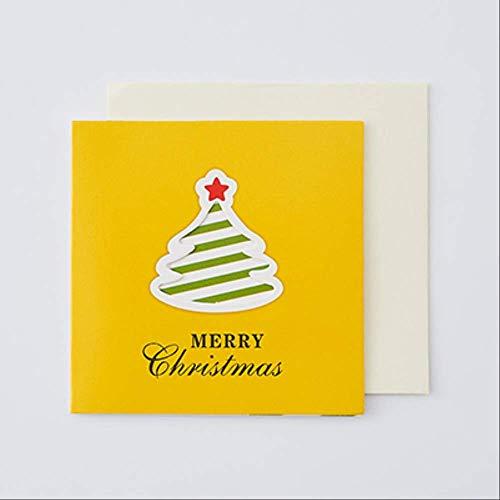 50 stücke Weihnachtskarte Mini Hohl Faltkarte Einfache Cartoon kinder Geschenk Nachricht Karte Senden Umschlag Geeignet Für Segen, grüße.Gelb-Baum