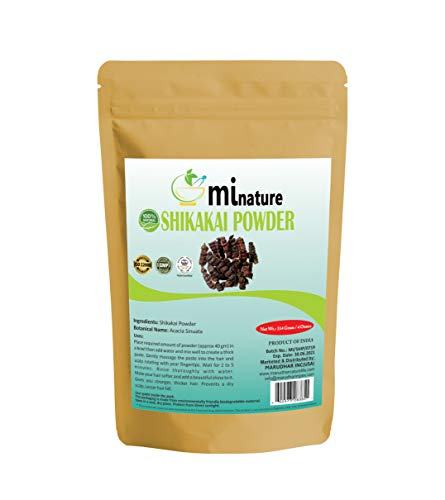 Organic Shikakai Powder by mi nature | Acacia Concinna | USDA NOP Certified 100% Organic | Vegan | Excellent Hair Conditioner(4 oz)
