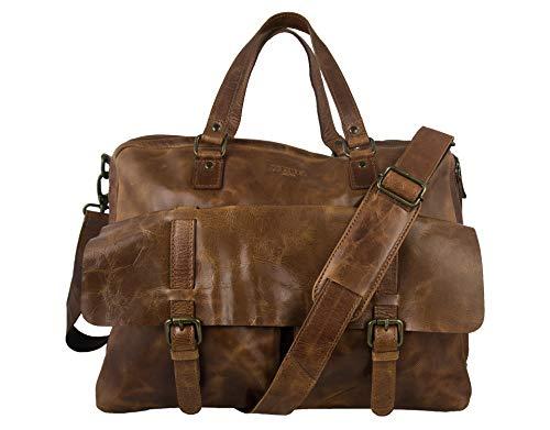 Zerimar Aktentasche Leder | Umhängetasche Leder | Messenger Bag | Satchel Bag | Leder Messenger Bag | Vintage Aktentasche | Massnahmen: 34x40x12 cm