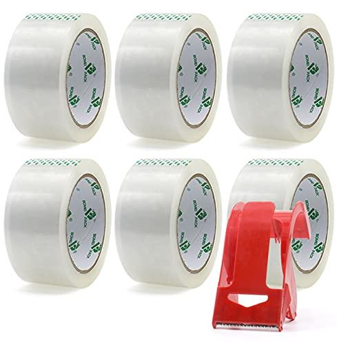 BOMEI PACK Nastro da Imballo, Dispenser per Nastro da Pacchi, Confezione da 6 Rotoli di Nastri da Imballo Trasparenti 48mm x 66m