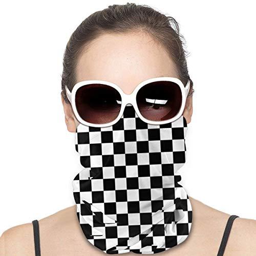 Clásico Negro Y Blanco Bloques Patrón A Prueba De Viento Escudo De La Cara Multiusos Sombreros Bandana Pasamontañas Cuello Polainas