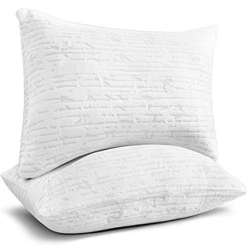 Clara Clark Shredded Memory Foam Pillow Queen, Pillow for Sleeping, Adjustable Memory Foam Pillow with Washable Case, Firm Memory Foam Pillow Set of 2