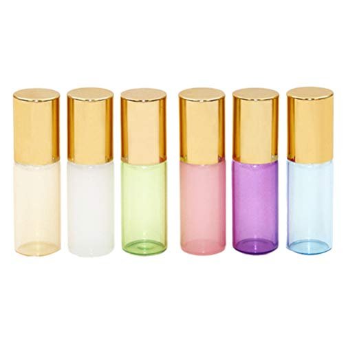 Artibetter 6Pcs Bouteilles D'huile Essentielle en Verre 5Ml Bouteille de Rouleau Mini Bouteilles Rechargeables Vides pour Lotion Liquide Parfum D'huile Essentielle