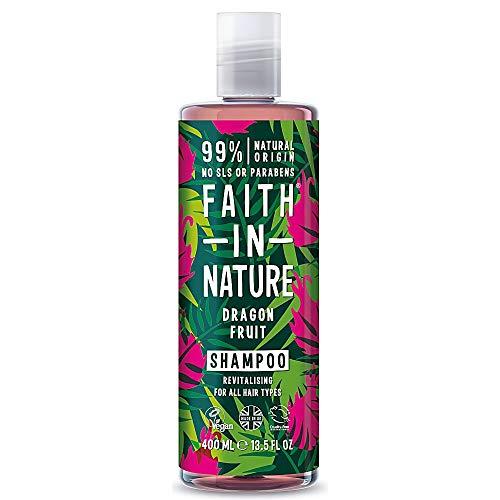 Faith in Nature Shampoo, natuurlijke drakenvrucht, stimulerend, veganistisch & zonder dierproeven, vrij van parabenen en SLS, voor alle haartypes, 400 ml