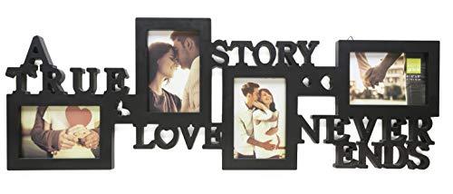 kieragrace Collage Frame - True Love, Holds 4 - 4'x6' Photos, Black