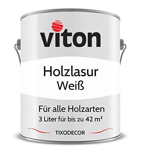 3 Liter Holzlasur von Viton - Farbe Weiß - 3in1 Seidenmatt - Holzschutzlasur, Lasur für Holz - Extra starker Schutz für Innen und Außen - Wetterfest, Atmungsaktiv & UV-beständig - Tixodecor