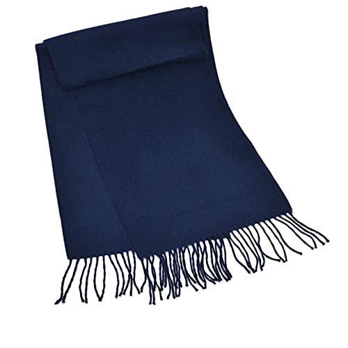 HUNOL Bufandas Para Hombre,Moda Cachemira Fulares Borla Grueso Cálida Aplicar Para Invierno-azul marino-135~175cm