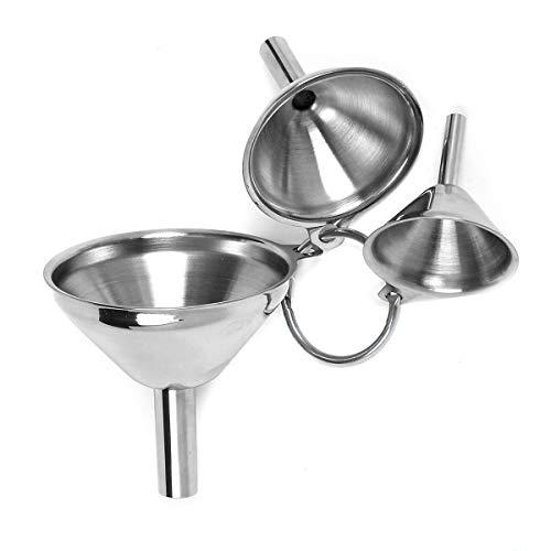 Set di 3 imbuti da cucina in acciaio inox per il trasferimento di liquidi in polvere di olio liquido, 3 dimensioni, argento