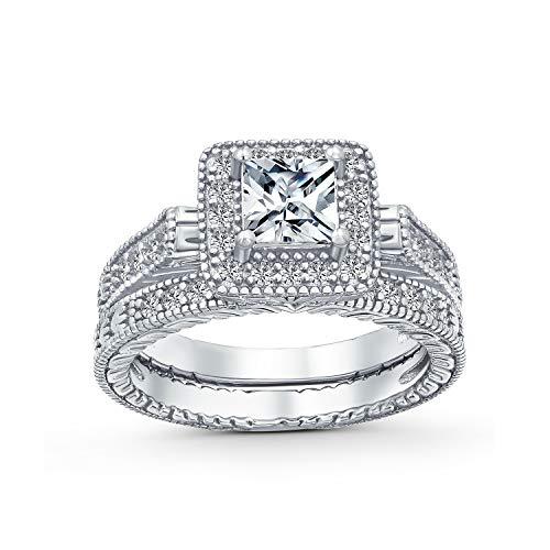 1CT Solitario Quadrato Cubic Zirconia Brillante Principessa Cut Halo AAA CZ Pave Milgrain Eternity Band Anniversary Wedding Ring Set per Le Donne .925 Sterling Silver