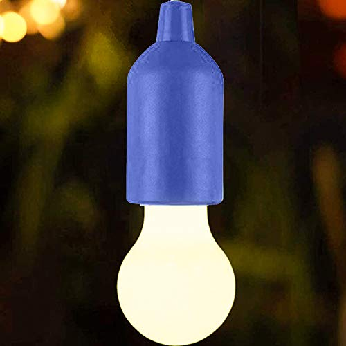 Fiorky Bombilla LED con cable de tracción portátil, portátil, creativa, para camping, hogar, garaje, patio, tienda, decoración de fiesta para colgar