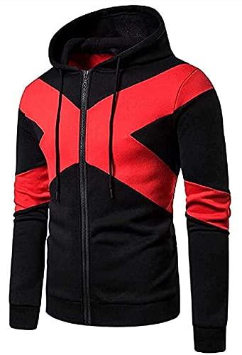 Dealism Mens Jackets Zip Front Contrast Loose Gym Workout Hoodies Sweatshirt Coat Jacket
