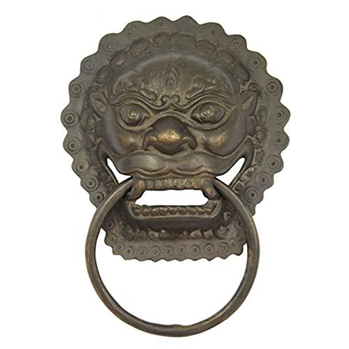 Knockers Lions Brass Door Pull Hardware, Torgriff für traditionelles Wohnkultur (Farbe: Schwarz, Größe: L)