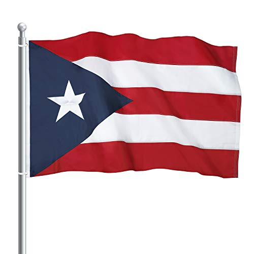 Lakeshore Trade Puerto Rico Flag - 3x5 Foot Outdoor Nylon Banner with Embroidered Star and Double Stitched Sewn Stripes - Durable UV Fade Resistant Puerto Rican Flag