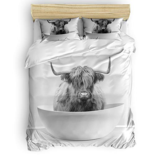 Amaze-Home Yak Bathtub 4 Pieces Bedding Sets Queen Flannel Duvet Cover Sheet Bedspread with 2 Decorative Pillow Shams for Bedroom Dorm Hotel Black White