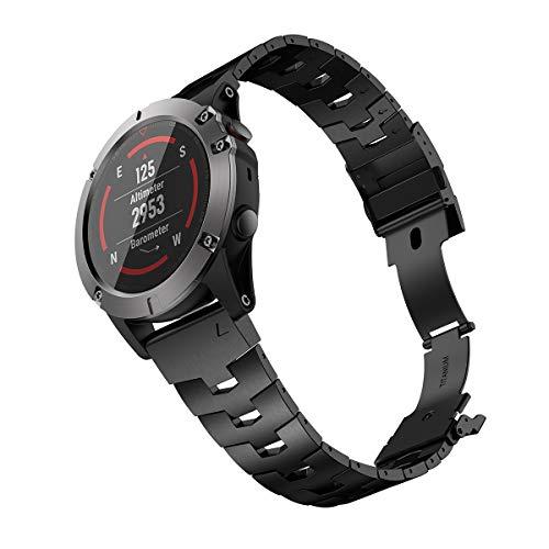 LDFAS Fenix 6X/5X Band, 26mm Vented Titanium Metal Quick Fit Watch Strap with DLC Coating Version Compatible for Garmin Fenix 6X Pro/Fenix 5X Plus Tactix Delta, Black