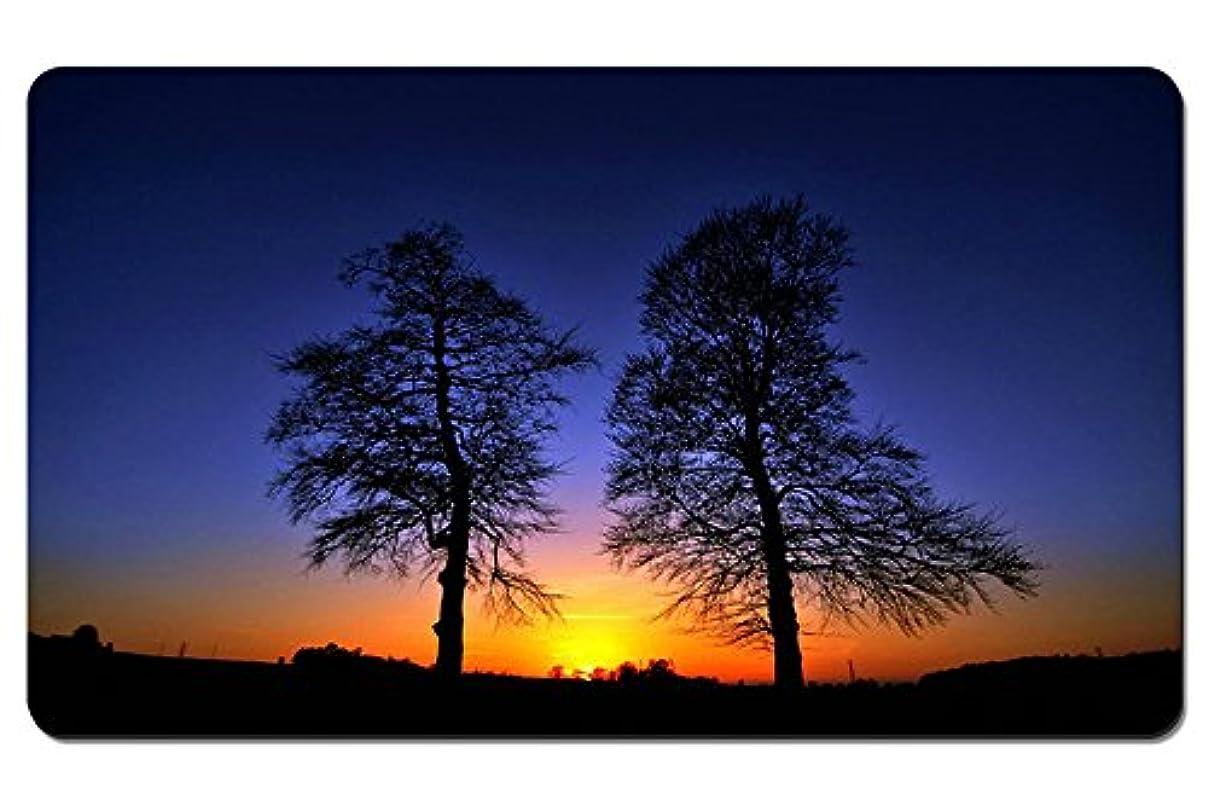 失われた文母音サンセット、木、グロー、シルエット パターンカスタムの マウスパッド 旅行 風景 景色 デスクマット 大 (60cmx35cm)
