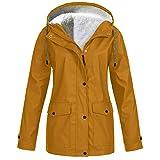 URIBAKE Women Waterproof Plus Velvet Coat Outdoor Sports Pocket Hooded Sportswear Jacket Outerwear Khaki