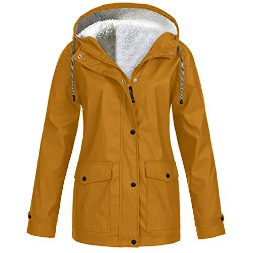 Lomelomme Windbreaker Damen Wasserdicht Regenjacke mit Kapuze Übergangsjacke mit Atmungsaktiv Futter für Herbst und Winter Fleecejacke*